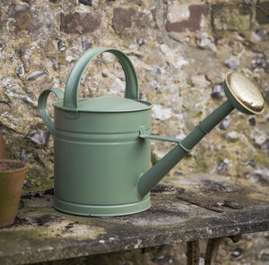 Green Galvanised Watering Can With Brass Detail - tools & equipment