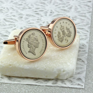 Rose Gold Five Pence Cufflinks 21st And 18th - cufflinks