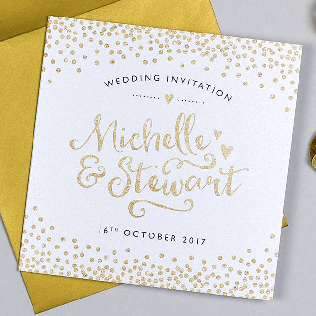 glitter and sparkle wedding invitation by michelle fiedler design