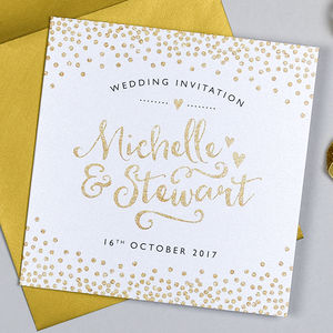 Glitter And Sparkle Wedding Invitation - wedding stationery