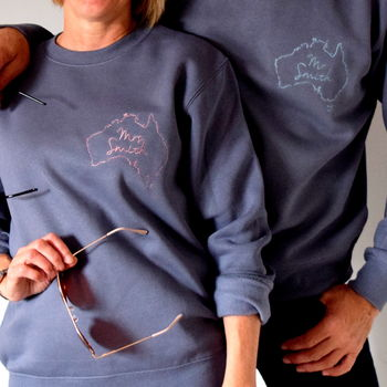 Set Of Two Embroidered Destination Honeymoon Jumper