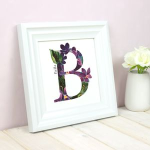 Personalised Floral Initial Square Print