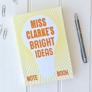 Personalised 'Bright Ideas' Notebook - writing