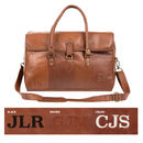 Personalised Leather Drake Strapped Weekender