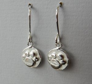 Silver Paw Print Drop Earrings