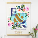 Personalised Wedding Floral Initials Print