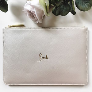 Bride Slogan Clutch Bag Metallic White - bags