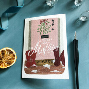 'Mistletoe Kisses' Christmas Greeting Card