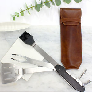 Bbq Multi Tool With Personalised Leather Sleeve - foodie