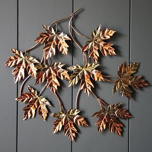 Copper Maple Leaf Wall Art - sculptures