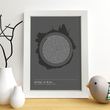 Personalised Radial Song Sound Wave Lyrics Print