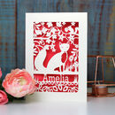 Personalised Papercut Fox Birthday Card