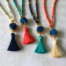 Indian Silk Tassel Necklace With Semi Precious Stones