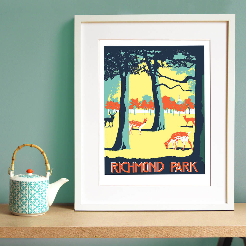 Richmond Park Screen Print By Red Faces Prints Notonthehighstreet Com