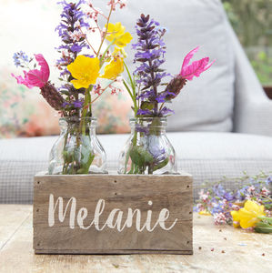 Personalised Bottle Flower Holder - living room