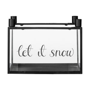 'Let It Snow' Candle Holder In Black