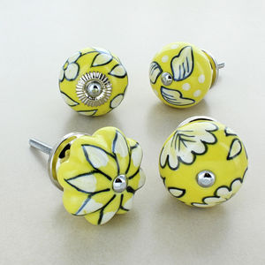 Bright Flowers Ceramic Door Knobs Cupboard Handles - home accessories