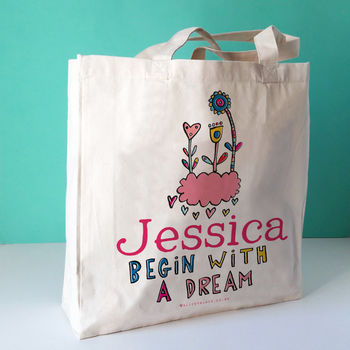 Personalised Begin With A Dream Canvas Bag
