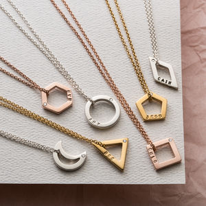 Personalised Diamond Mini Geometric Necklace