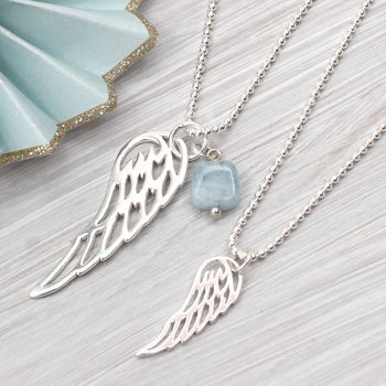 Sterling Silver Angel Wing And Aquamarine Necklace