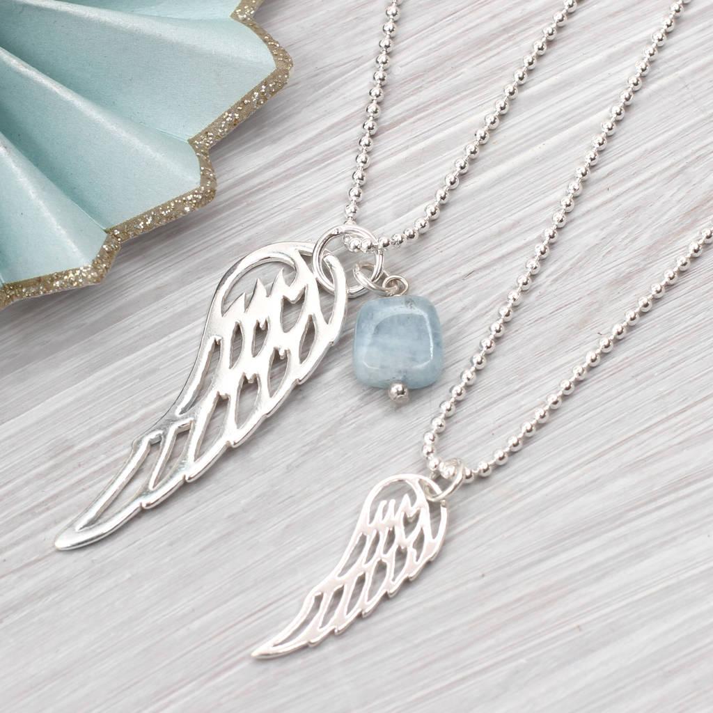 Gt hurleyburley man gt sterling silver men s snake chain bracelet - Sterling Silver Angel Wing And Aquamarine Necklace Necklaces Pendants
