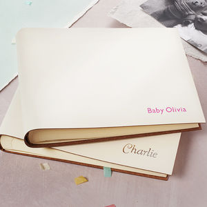 Leather New Baby Christening Album - christening gifts
