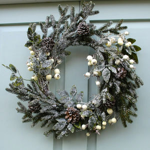 White Snowberry Christmas Wreath - festive scandi