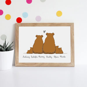 Personalised Bear Family Print - animals & wildlife
