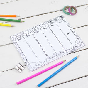Colouring Weekly Notepad Planner With Pencils