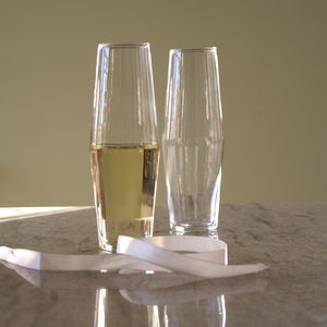 Four Handblown Modern Champagne Glasses