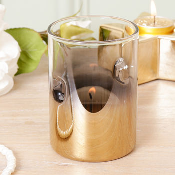 Contemporary Gold Ombre Glass Hurricane Candle Holder