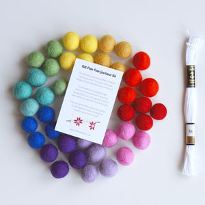Rainbow Felt Ball Garland Diy Kit