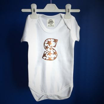 Personalised Star Pattern Initial Babygrow