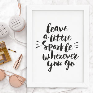 'Leave A Little Sparkle' Typography Print - shop by subject