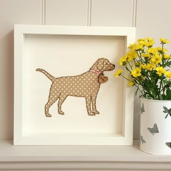 Framed Personalised Labrador Fabric Dog With Nametag