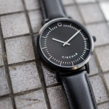Black And Gunmetal Detail Leather Watch