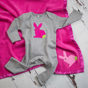 Bunny Rabbit Sleepsuit And Blanket Gift Set For Girls