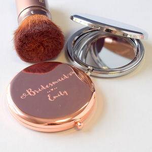 Engraved Bridesmaid Compact Mirror - be my bridesmaid?