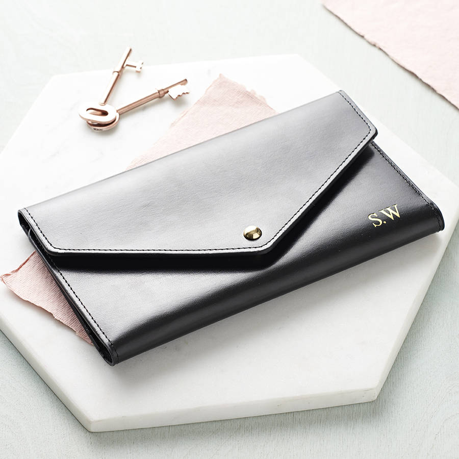 personalised leather travel envelope document holder by ha With leather envelope document holder