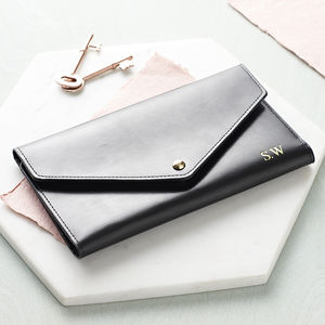Personalised Leather Travel Envelope Document Holder - womens