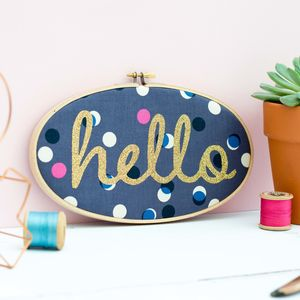 'Hello' Embroidery Hoop Wall Art