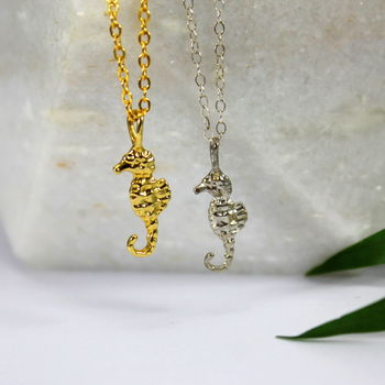 Sterling Silver And Gold Seahorse Charm Necklace