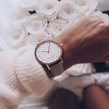 Rose Gold And Slate Leather Strap Watch