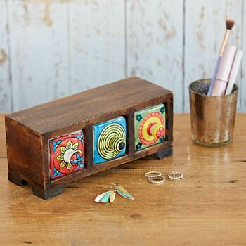 Handcrafted Wooden Three Drawer Trinket Box