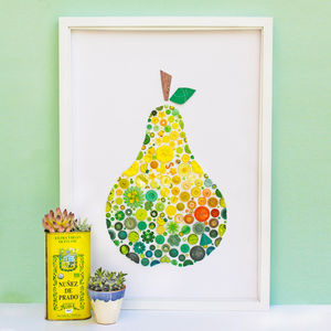 Framed Pear Button Artwork