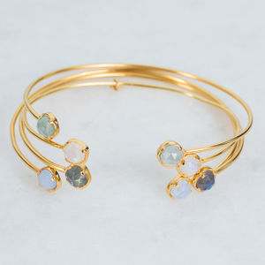 14k Gold Vermeil Semi Precious And Diamond Cuff - bracelets & bangles