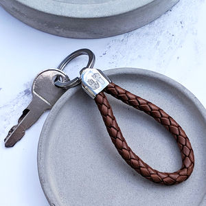 Personalised Handprint Leather Loop Keyring For Him