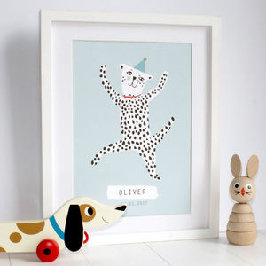 Personalised Dancing Spotty Dog Print - new baby gifts
