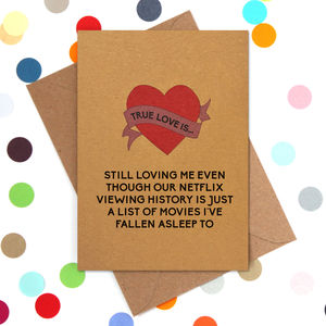 Funny Valentine's Day Card: Netflix History