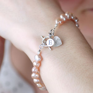Personalised Pearl And Pure Silver Initial Bracelet